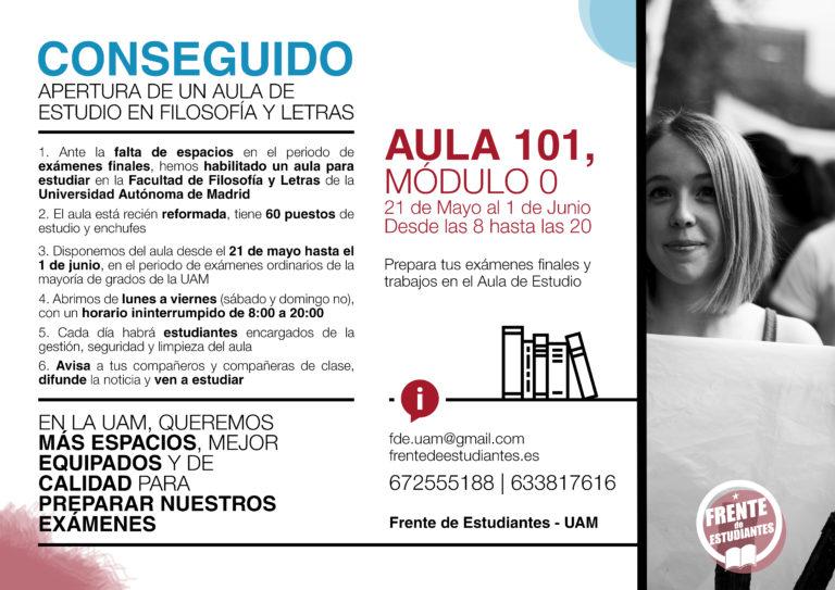 Abrimos un Aula de Estudio en la Universidad Autónoma de Madrid
