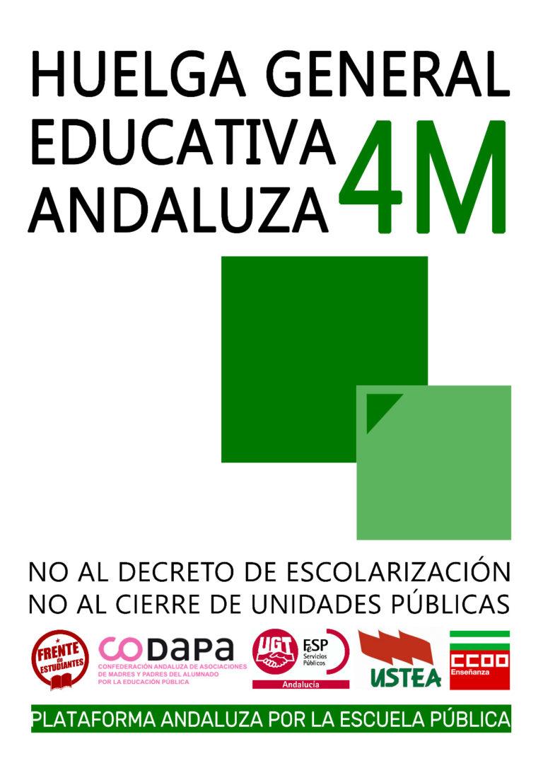¡Huelga educativa general el 4 de Marzo en Andalucía!
